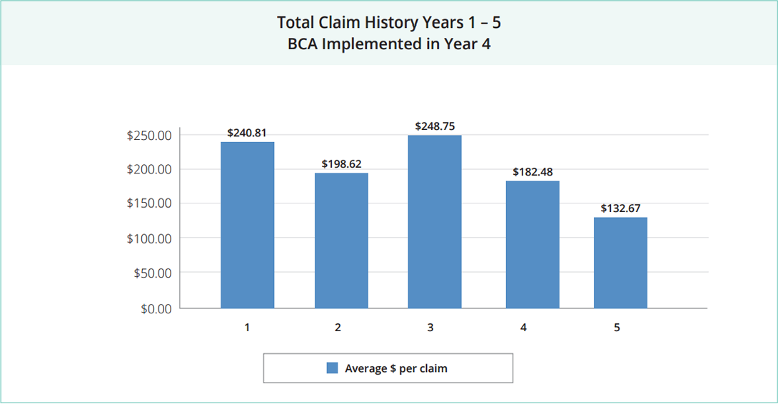 total claims history bca 4 years avg claim